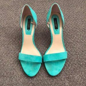 Zara green heeled suede sandal